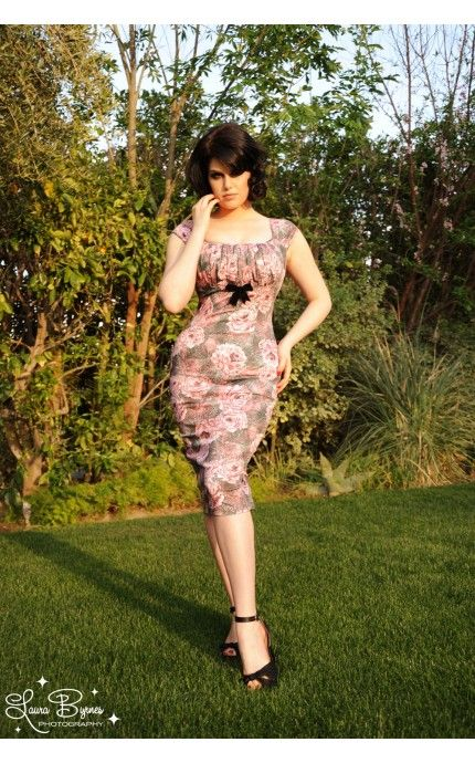Pin Up Girl Clothing Com Pinup Couture Erika Dress In Yellow And Plum Rose  Pinup Girl