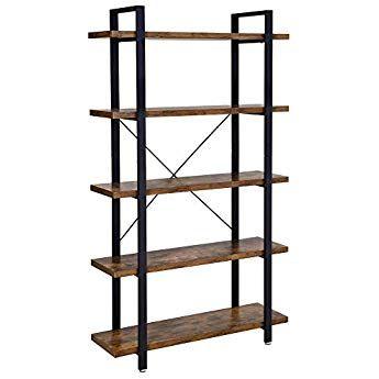 Wall Shelf Storage Display Shelving Unit Gold Metal Frame Rack Industrial Style