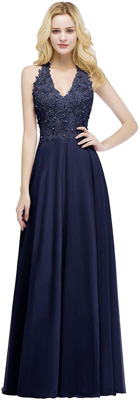 Misshow Damen Abendkleider Lang 2018 Spitzenkleider Hochzeitskleid Chiffon Ruckenfrei Abendkleider Amazon De Bekleidung Vestidos Mateus