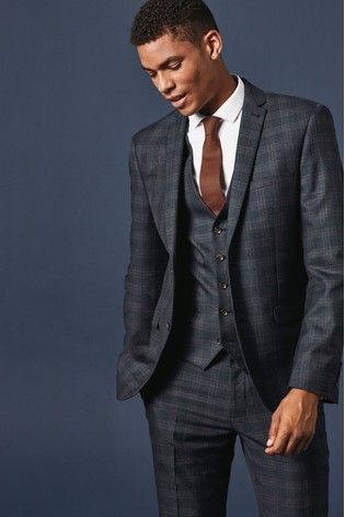 Buy Slim Fit Check Suit Jacket From The Next Uk Online Shop Checked Suit Mens Check Suits Suit Fit Guide