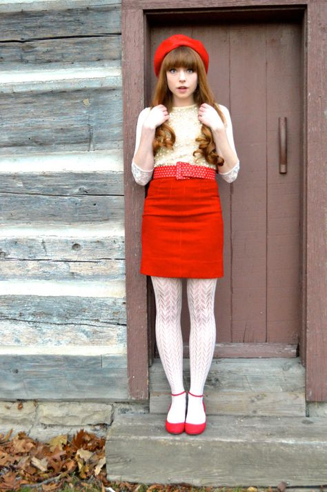 Red Skirt with White Tights