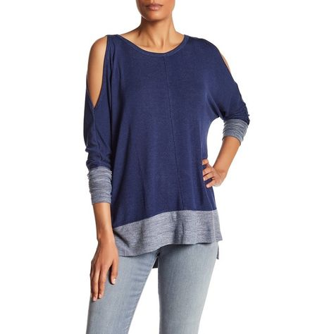 d0a34774c35d8 Bobeau Cold Shoulder Raw Edge Tee ( 27) ❤ liked on Polyvore featuring tops