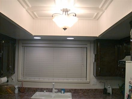 Replacing fluorescent lights in the kitchen coffered ceilings bath and coffer
