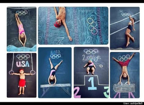 Sidewalk Chalk Props: Creative Photos Of Kids Olympic Athletes As Part Of Chalk Art