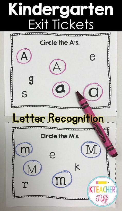 Kindergarten Exit Tickets Letter Recognition Kindergarten - exit letter