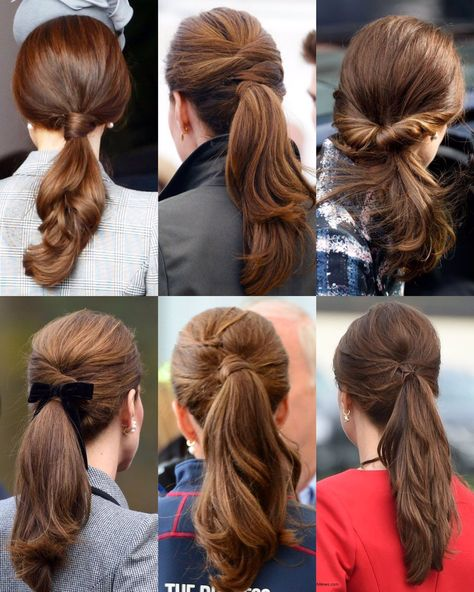 A look at The Duchess of Cambridge's different hairstyles, from her elegant ponytails to her many intricate updos. Notice how so many of… Cabelo Kate Middleton, Estilo Kate Middleton, Work Hairstyles, Ponytail Hairstyles, Casual Hairstyles, Medium Hairstyles, Celebrity Hairstyles, Pelo Vintage, Elegant Ponytail
