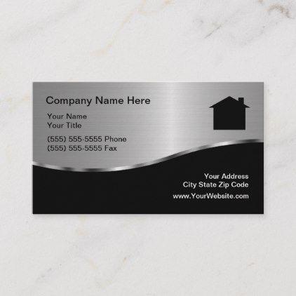 Modern Metallic Real Estate Business Card Zazzle Com Real