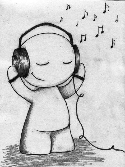 cute-drawing-listening-to-music-easy-things-to-draw-when-your-bored-black-white-pencil-sketch