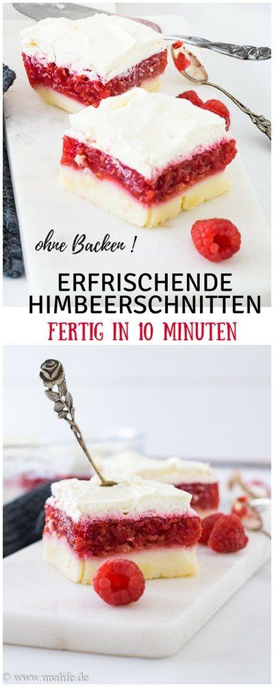 Schnelle Und Leichte Himbeerschnitten Mit Griess Fertig In 10 Minuten Himbeerschnitte Dessert Rezepte Schnell Blechkuchen Einfach