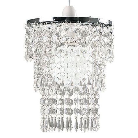 Modern Chrome  Clear Acrylic Crystal Droplet Ceiling Pendant Light Lamp Shade