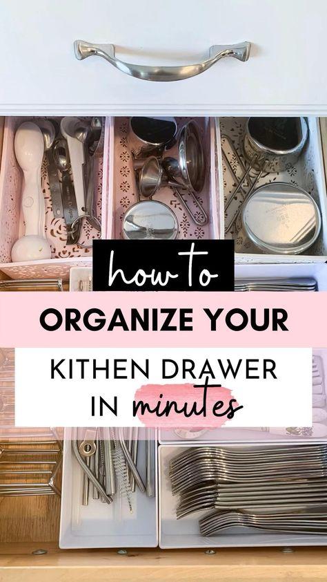 How to organize kitchen drawers in minutes - kitchen organization ideas