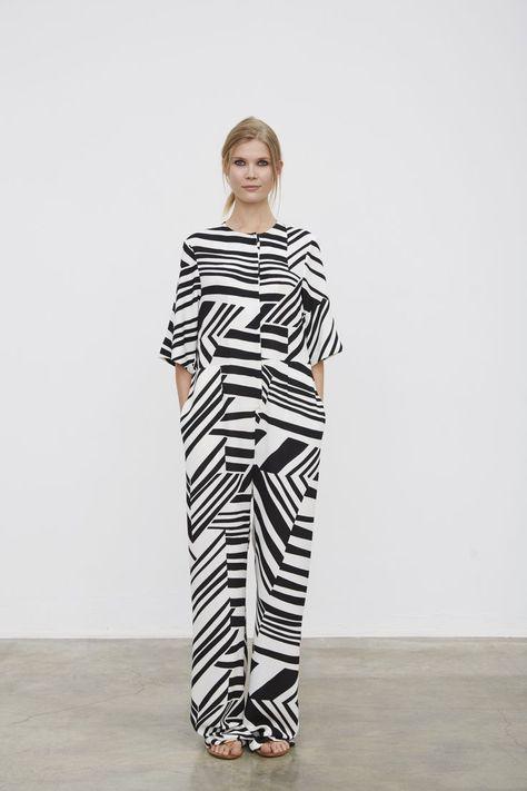 Monochrome jumpsuit with graphic printed pattern; black & white fashion // Marimekko Spring 2016