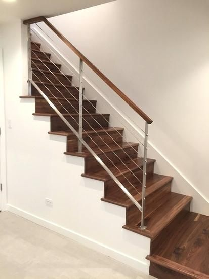 Modern Stair Handrail Stainless Steel And Walnut Cable Rails | Modern Wood Staircase Railing | Residential | Interior | Floor To Ceiling | Ultra Modern | Traditional Wood Stair