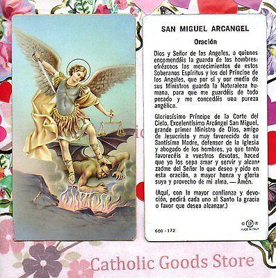 San Miguel Arcangel Oracion Spanish Paperstock Holy Card San Miguel Arcangel Oracion Oracion De San Miguel San Gabriel Arcángel