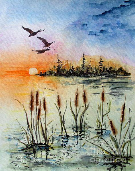 Lovely wetlands watercolor!