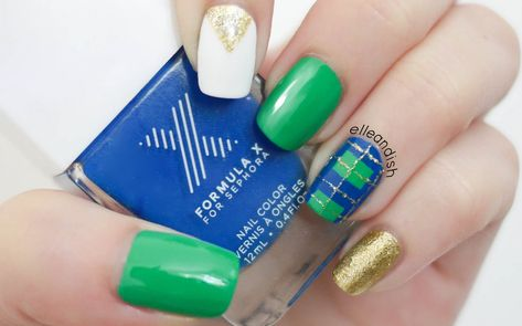 Blue & green plaid nails for fall!  #FormulaX #SephoraNailSpotting #HowTo