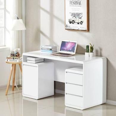 Florentine Computer Desk In White High Gloss With Storage White Computer Desk White Gloss Desk Computer Desk