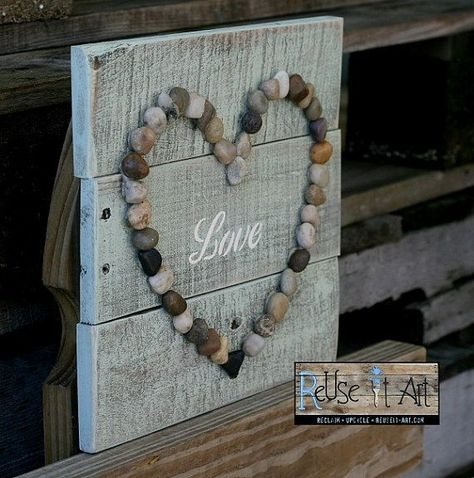 """Wood Pallet Sign, LOVE with Rock Heart,  Rustic Pallet Art  10"""" x 10"""""""