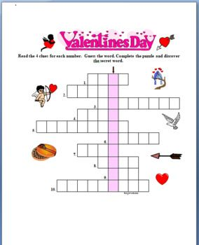 photograph relating to Valentine's Day Crossword Puzzle Printable referred to as Pin upon Agamat - ESL English Academics Worksheets