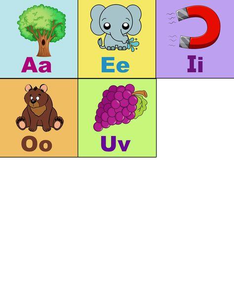 Vocales Con Dibujos A E I O U Tamano Carta Listo Para Imprimir Vocales Para Ninos Abecedario Para Ninos Ninos De Kinder