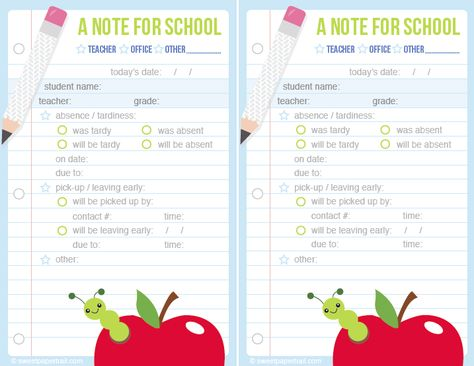 Green Cute Printable School Notes If Your Little On Is Going To Be