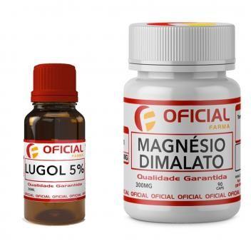 Magnesio Dimalato 300mg 90 Caps Lugol 5 Iodo Inorganico 30ml