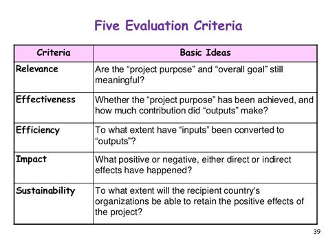 Project Evaluation Criteria List  GoogleSgning  Work Stuff