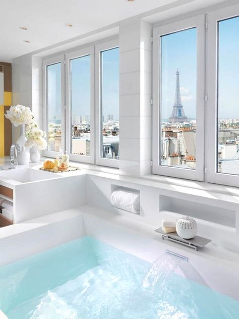 View from a bathroom in a suite at the Mandarin Oriental, Paris Interior Design home decoration on a budget modern architecture interior des. Dream Bathrooms, Beautiful Bathrooms, Hotel Bathrooms, Luxury Bathrooms, Luxury Hotel Bathroom, Paris Bathroom, White Bathroom, Bathroom Interior, Light Bathroom