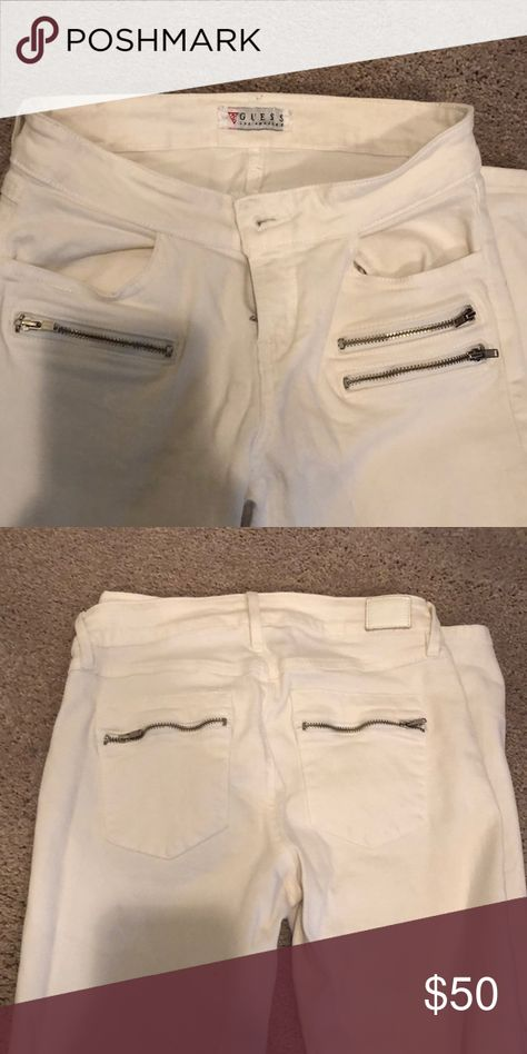 Guess white jeans White jeans with zippers Guess Pants Skinny