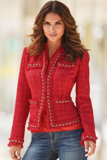 Best-selling iconic jacket with fringed hems, chain piping and allover shimmer. Seamed for shaping with true front pockets. Hook-and-eye closure. Polyester/wool Imported Dry c
