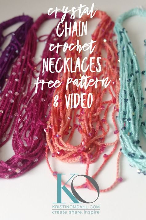 Crystal Chain Crochet Necklace FREE Pattern