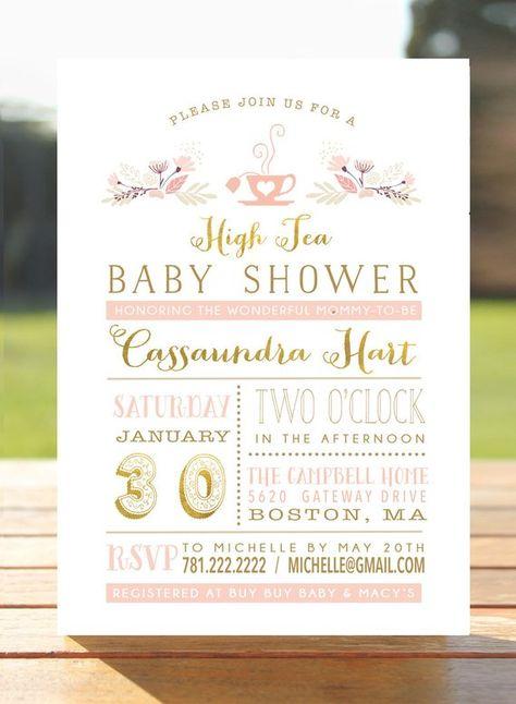 Baby Tea Party Invitation - Bridal Shower Invite - Bridal Brunch - Printable - Kitchen Tea -  High Tea - Blush Gold foil- Digital File