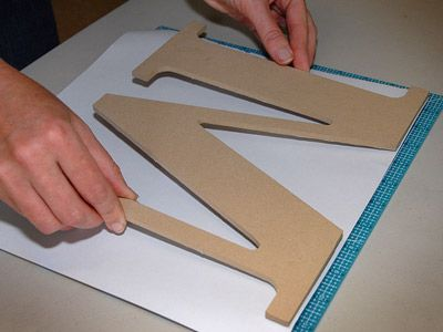 """How to cut scrapbook paper perfectly for those wooden letters.TLC Home """"Whimsical Wall Decor"""""""