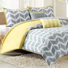 Nadia Chevron Print Twin Xl Comforter Set Yellow Yellow Bedding Sets Yellow And Gray Comforter Yellow Bedding