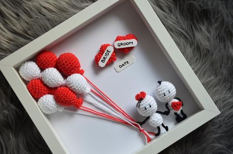 Wedding frame/ Personalized Valentines Day Gift/ Bigli Migli Wedding gift/ Red and White/ Unique Wedding Gift Ideas/ Gift for Couple - Personalized Valentines Day Gift/ Bigli Migli Wedding gift/ Valentines Day Gifts For Him, Valentines Day Decorations, Crochet Art, Crochet Patterns Amigurumi, Personalized Valentine's Day Gifts, Handmade Gifts, Crochet Wedding, Unique Wedding Gifts, Wedding Frames