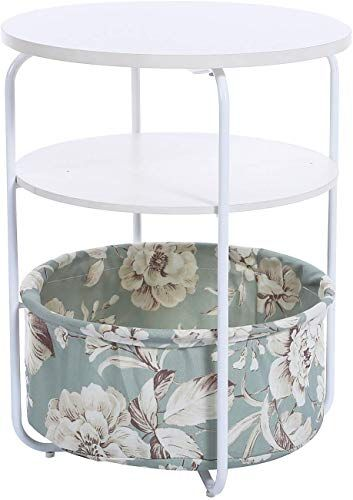 Best Seller Garwarm 3 Tier Round Side Table End Table Nightstand Fabric Storage Basket Modern Studio Collection Small Spaces Bedroom Living Room 16 5 16 5 Small Space Bedroom Living Room Coffee Table Fabric Storage Baskets