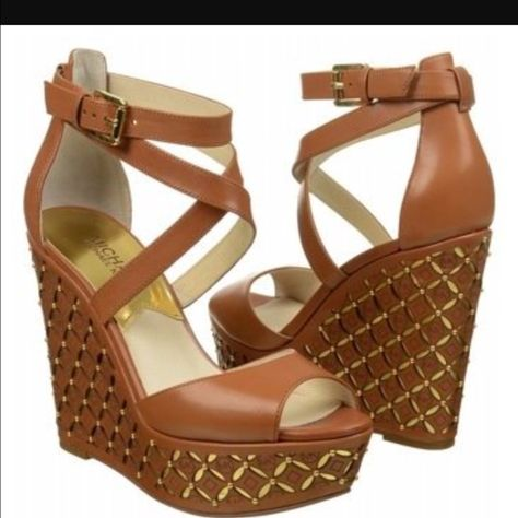 Gabriella Wedges Color Leather Luggage Size 7.5