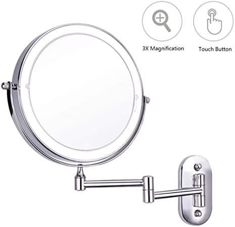 Yang Lighted Wall Mounted Makeup Mirror Round 3x Magnification Extendable Touch Button Adjustable In 2020 Wall Mounted Makeup Mirror Adjustable Lighting Makeup Mirror