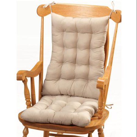 Miles Kimball Rocking Chair Cushions 2 Piece Set With Securing Ties Beige Walmart Com Rocking Chair Rocking Chair Cushions Chair