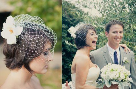 short wedding hairstyle brunette bride with birdcage veil