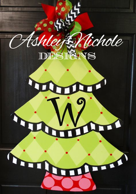 Harlequin Christmas Tree Door Hanger by DesignsAshleyNichole