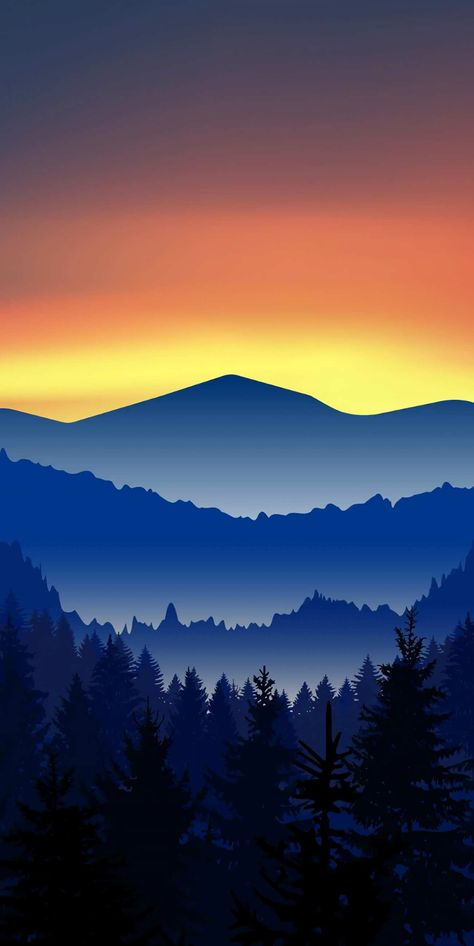 Minimal Mountains Forest Nature iPhone Wallpaper - iPhone Wallpapers