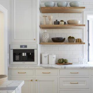 Light Grey Kitchen Cabinets White Subway Tile Open Shelving Wood Floating Shelves Ma Kitchen Cabinet Design White Kitchen Design Kitchen Cabinets Decor