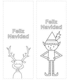 Marcapaginas De Navidad Para Colorear Manualidades Dibujo Navidad Para Colorear Postales Navidad Infantiles Manualidades