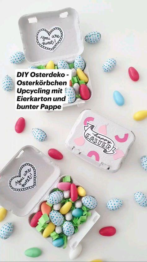 DIY Osterdeko - Osterkörbchen Upcycling mit Eierkarton und bunter Pappe