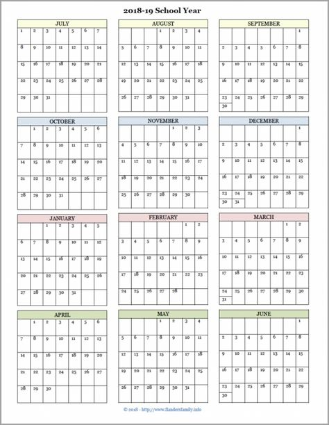 Printable Year At A Glance Calendar Di 2020 Matematika