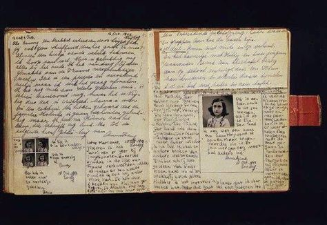 An open page of the actual diary of Anne Frank. Never doubt the power