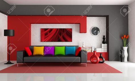 Sous-sol en alternance de couleurs Salon interior, Basements and Cave - deco salon rouge blanc noir
