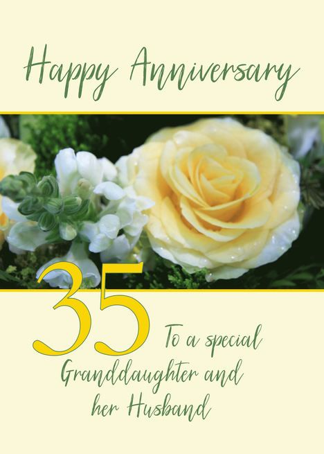 Granddaughter Husband 35th Wedding Anniversary Yellow Rose Card Ad Affiliate W In 2020 8th Wedding Anniversary 70th Wedding Anniversary 2nd Wedding Anniversary