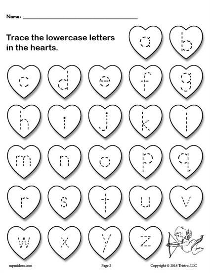 Printable Valentine's Day Uppercase And Lowercase Alphabet Letter Tracing  Worksheets! Valentine Worksheets, Preschool Valentines Worksheets,  Alphabet Worksheets Preschool